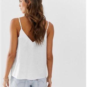 Nice cream/white spaghetti strap blouse